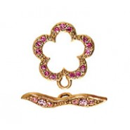Flower Toggle Set - With Stones #4076ST