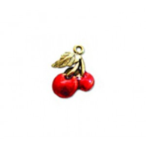 Cherries - Hand Painted #806HP | Quest Beads & Cast - Charms and Beads Made in the USA