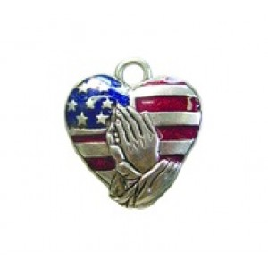 Patriotic Heart - Hand Painted #2594HP | Quest Beads & Cast - Charms and Beads Made in the USA