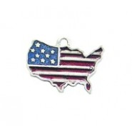 USA With Flag-God Bless America - Hand Painted #2582HP