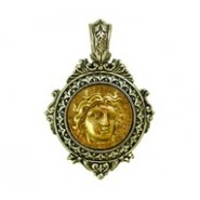 Ornate Pendant With Coin Face- 2-Tone #6436