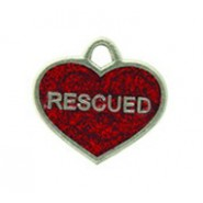 """Rescued'' Dog Or Cat Tag With Glitter #4578GL"