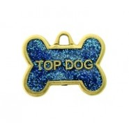 """Top Dog"" Dog Tag With Glitter #4533GL"
